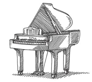 keyboard-instrument-grand-piano-drawing-vector-id483800248